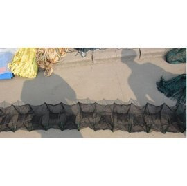【折疊網-2.2米12節10門-框架18*22cm-1個/組】折疊魚網蝦籠蝦網 龍蝦籠 捕魚籠 捕蝦網 抓蟹籠 地籠 漁網漁具-5101015