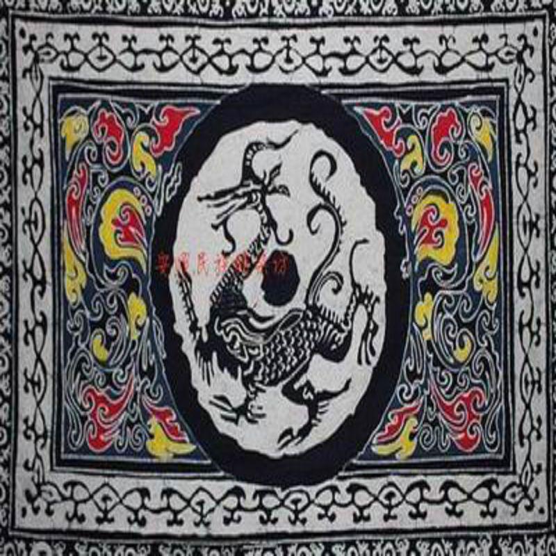 ~蠟染長方桌布~瓦當流龍雲~200^~150cm~1件 組~民族蠟染貴州少數民族特色 藝品