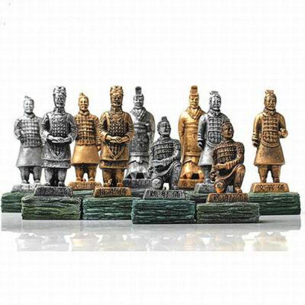 【兵馬俑擺件玩具-樹脂-4.4*4.3*10.5cm-3個/組】特色禮品餽贈親朋好友多色可選(可混搭)-36001