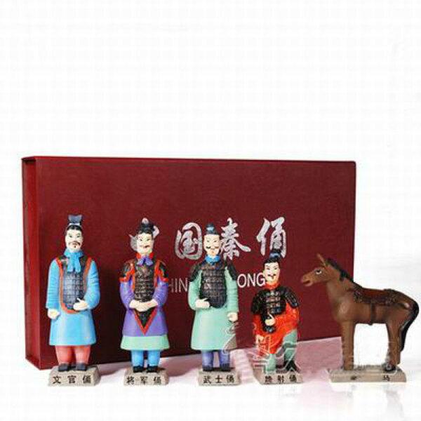 【兵馬俑擺件玩具-5件套-樹脂-高13cm-1套/組】特色工藝品紀念品餽贈親朋好友多款可選-36001