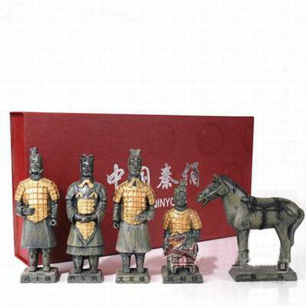 【兵馬俑擺件玩具-5件套-樹脂-高16cm-1套/組】特色工藝品紀念品餽贈親朋好友多款可選-36001