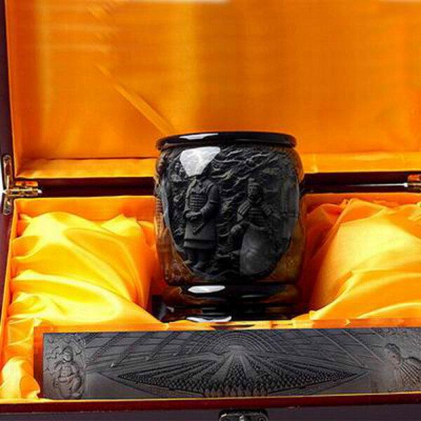 【兵馬俑浮雕筆筒鎮紙套裝-樹脂水晶-2件/套-1套/組】特色工藝品餽贈親朋好友(含底座禮盒)-36001