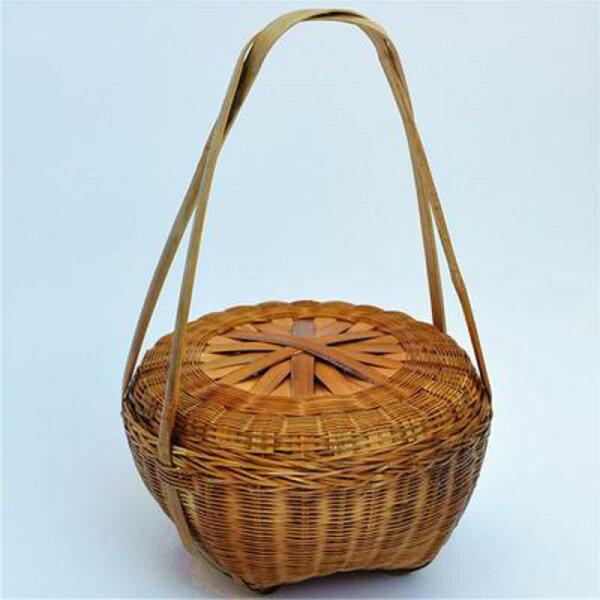 【有蓋竹編提籃-小號-直徑22*深13-總高36cm-1個/組】竹編製品水果菜筐 裝飾品盒海鮮籃子購物筐-38009