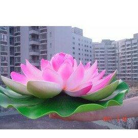模擬荷花 睡蓮花 荷葉 塑膠 表演道具 水景裝飾 形象真38cm-7901002