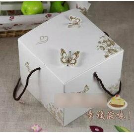 【蛋糕盒-手提-燙金立體蝴蝶-2寸-15個/組】小蛋糕盒 式西點盒 餅乾盒 糖果盒 300g 白卡+提繩(11.5*11.5*10cm),15個/組(可混選)-8001002