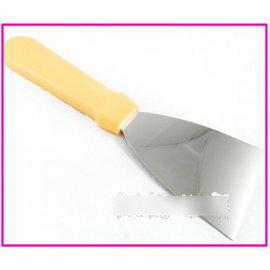 【巧克力刮片-不銹鋼+塑膠手柄-三角-SN4874】帶手柄三角刮刀 巧克力刮片活面刀 (總長24刃長11cm)-8001006