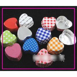 【紙杯托-錫紙-純藍色心形-3.3*1.9-10包/組】可以直接當模具用的 錫紙紙托巧克力(直徑3.3*1.9cm)5入/包,10包/組(可混選)-8001006
