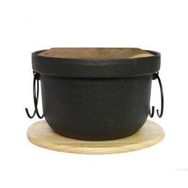 【飯鍋-鑄鐵-黑色釜飯鍋-單底-20】鑄鐵鍋 老鐵湯鍋 日本鍋 燉鍋 各種爐灶通用 木蓋帶木墊(外徑20內徑16.8高12cm(含蓋),容量1L)-8001017