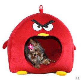 【寵物屋-可愛紅色小鳥-小號-35*35*37】狗狗窩 寵物窩 貓咪窩 冬季保暖蒙古包墊子床 適合4kg以下,小號長寬高:35*35*37-79011