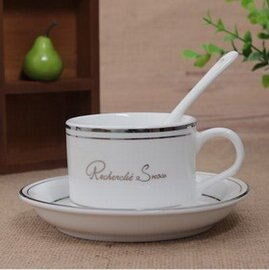 ~陶瓷咖啡杯~120~150ml~^(碟^~1 杯^~1 瓷勺^~1^) 套~2套 組~陶
