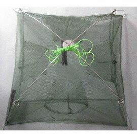 【加固型捕魚籠-4進口60cm-60*60cm-2套/組】加固型密眼網 捕魚網 捕蝦網 地籠 魚籠 蝦籠-76029