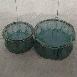 【自動捕魚籠-帶擋片6孔60cm-直徑60cm-1套/組】水中自動展開 捕蝦籠 折疊捕魚網 地籠 捕魚工具-76029