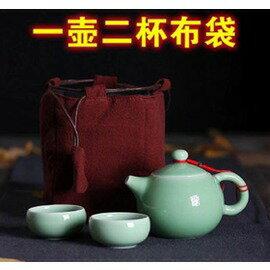 【手工布袋-一壺二杯布袋-長11*寬8.5*高14cm-1個/組】收納包 棉麻布藝 純手工茶壺布袋 便攜 旅行茶具包,多款可選-7501021