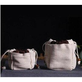 【手工布袋-杯袋/壺袋1號-長7.5*寬7.5*高9.5cm-4個/組】陶瓷茶具功夫茶杯禮品袋茶道零配手工陶瓷茶杯子布袋-7501021