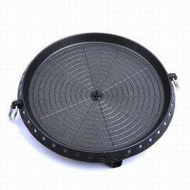 【H 圓形燒烤盤-直徑32cm-1套/組】鋁合金雙層構造 戶外家用 塗層燒烤鍋燒烤盤無煙烤肉盤烤肉鍋卡式爐燒烤盤-76007