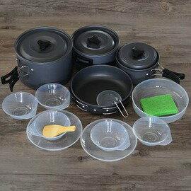 【戶外野營套鍋-SR5011-4-5人-鋁合金-1套/組】戶外炊具組合套鍋便攜式不粘鍋(大中小煮鍋*1+煎鍋*1+飯碟*5+湯勺飯勺*1+盤*2)-76007
