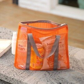 【多功能網袋收納包-網格布-31*24cm-4個/組】化妝品收納袋 包中包包中袋旅行箱整理袋-76002
