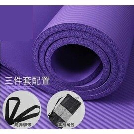 【瑜珈墊-奧義-厚10mm-3件套-NBR-185*80cm-1套/組】瑜伽墊 防滑瑜珈墊 健身毯子(3件套 : 墊+扣+包)-56008