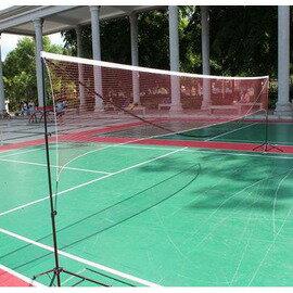【可?式多功能網架-6.1米雙打型-鋁管+尼龍球網-6.1*1.55米-1套/組】折疊標準羽毛球網 移動 送吸汗帶穩定鉤-56007