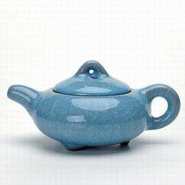 【冰裂天藍壺-直徑15*高7.8cm-170ml-1套/組】茶道茶具配件開片冰裂釉茶壺 陶瓷茶壺 泡茶壺功夫茶具-7501015