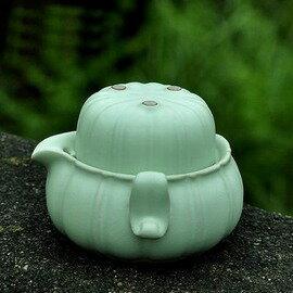 【快客杯-青嵐-一壺一杯/套-壺220ml杯50ml-1套/組】汝窯快客杯陶瓷汝瓷茶具套裝個人杯辦公蓋碗(包需加購)-7501015