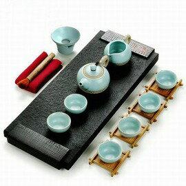【茶具套裝-碳春茶具套裝-盤50*20*4.5cm-16件/套-1套/組】烏金石茶海茶台茶道汝瓷功夫茶具套裝石質茶盤套裝-7501015
