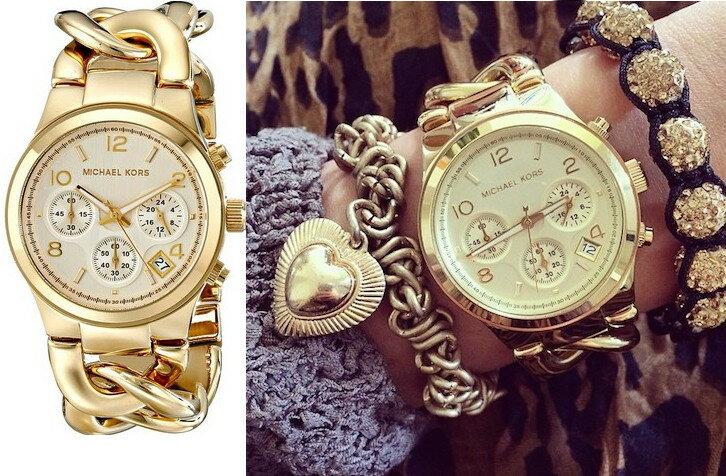 美國Outlet正品代購 MichaelKors MK 玳瑁三環 手鍊 手錶 腕錶 MK3131 1
