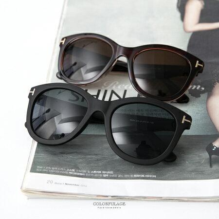 墨鏡 韓流時尚 微復古個性圓框側邊金屬T字造型太陽眼鏡 中性單品 柒彩年代【NY331】抗UV400