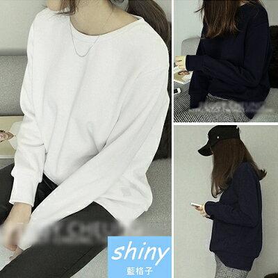 ~V0343~shiny藍格子~美風搭物.簡約純色圓領寬鬆刷毛長袖T恤 ~  好康折扣