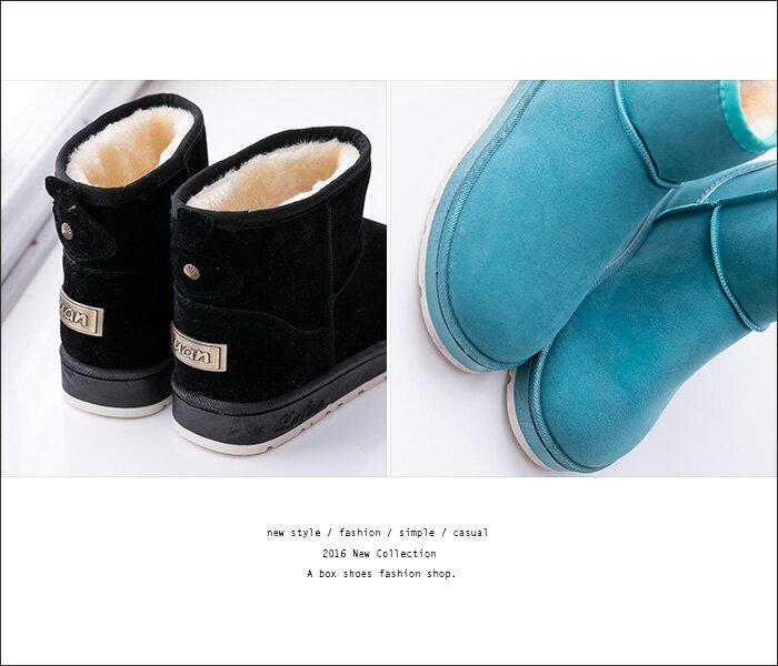 格子舖*【KR802】寒冬繽紛嚴選馬卡龍 糖果色系 保暖厚毛料麂皮膠底防滑雪靴 雪地靴 6色 2