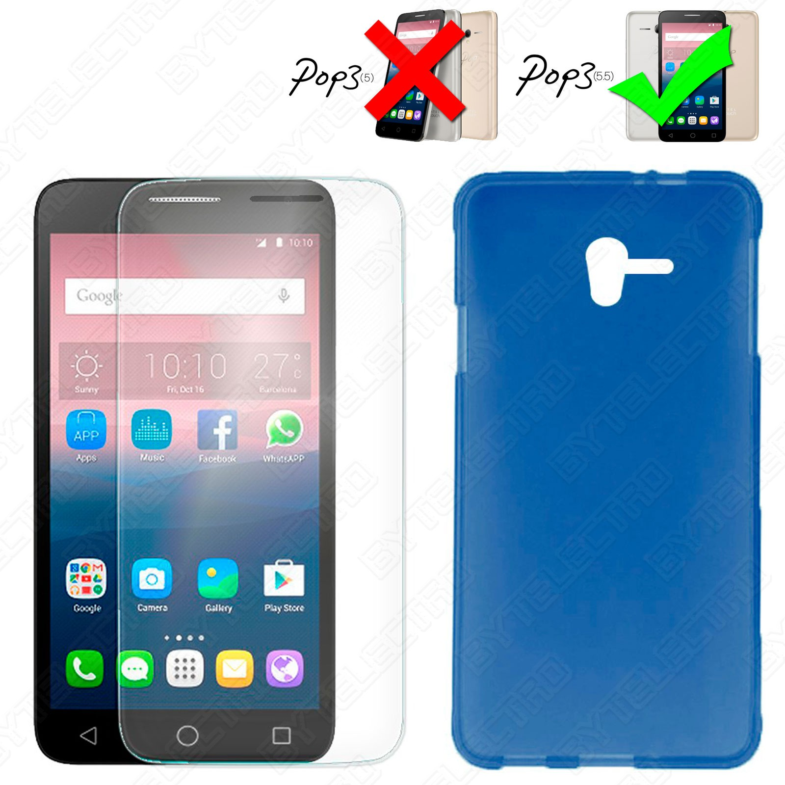 Funda Gel TPU + Cristal Templado ALCATEL ONETOUCH POP 3 (5.5) (Varios Colores) 3