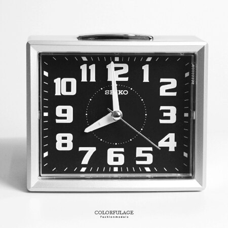 SEIKO精工鬧鐘 方型時尚銀色鈴聲鬧鐘 滑動式靜音秒針 夜光功能 柒彩年代【NV1748】原廠公司貨 0