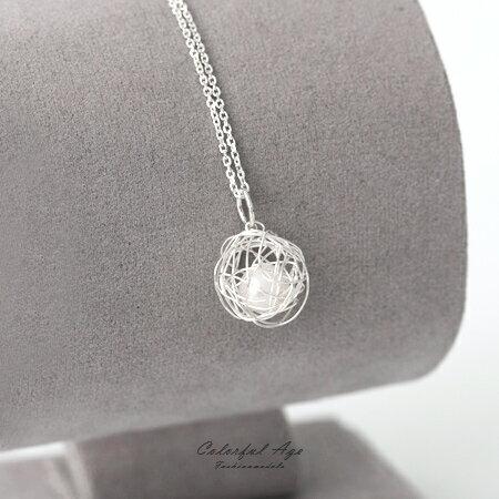 925純銀項鍊 不規則感線球珍珠設計頸鍊鎖骨鍊 抗過敏設計 甜美氣息 柒彩年代【NPB36】 0