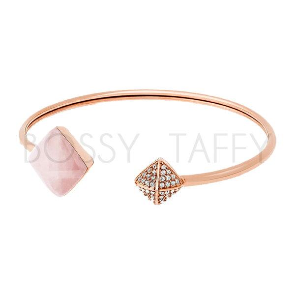 MICHAEL KORS 菱形柔粉石英鑲鑽袖扣手環 MK Gold-Tone Rose Quartz Cuff