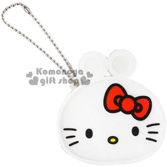 〔小禮堂〕Hello Kitty 矽膠造型零錢包《迷你S.白.大臉.扣式》附珠鍊