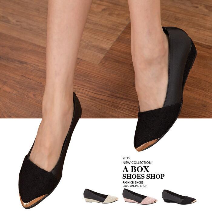格子舖*【KTDWP3110】MIT台灣製 女神款 皮革拼接質感蕾絲提花布 金屬鞋頭 楔型包鞋 5色 1