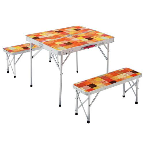 【露營趣】中和 附鋁合金手電筒 Coleman CM-26758 自然風抗菌4人桌椅組 休閒桌 摺疊桌 野餐桌