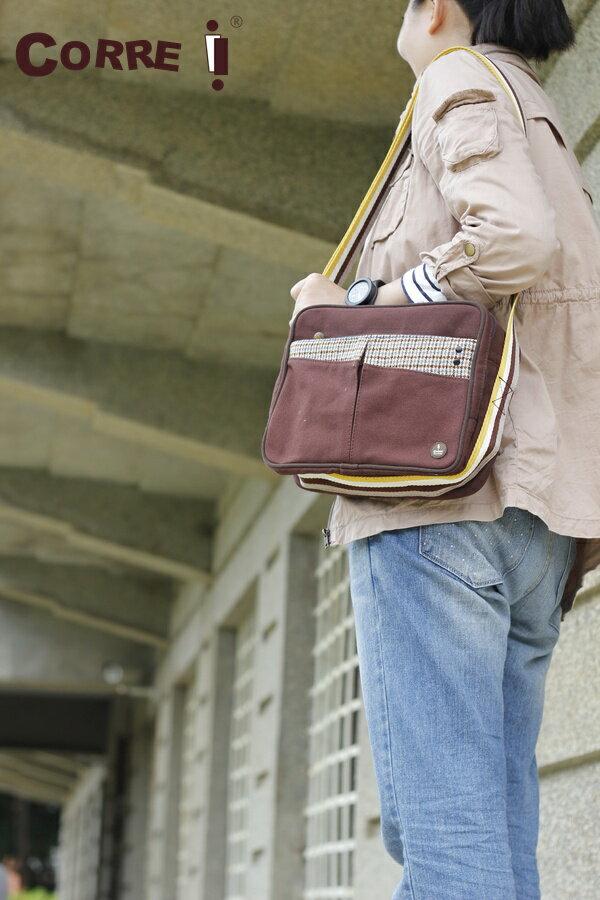 CORRE【CG71069】帆布毛革經典斜背包共四色 紅/藍/橘/咖啡 0