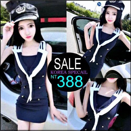 ~克妹~  ~ZT99120~korea性感海軍風雙排扣翻領修身包臀連身洋裝