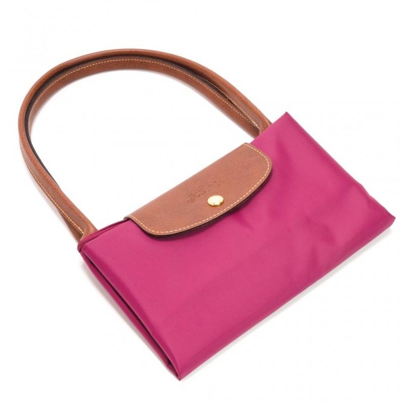 [1899-M號] 國外Outlet代購正品 法國巴黎 Longchamp 長柄 購物袋防水尼龍手提肩背水餃包紫色 2