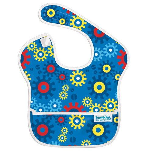 【淘氣寶寶】2016年最新 美國Bumkins防水兒童圍兜(一般無袖款6個月~2歲適用)-藍色齒輪 【保證公司貨】