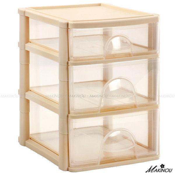 收納盒『日本MAKINOU 3抽透明桌面文具收納櫃』可放A4 抽屜收納箱 置物箱 牧野丁丁