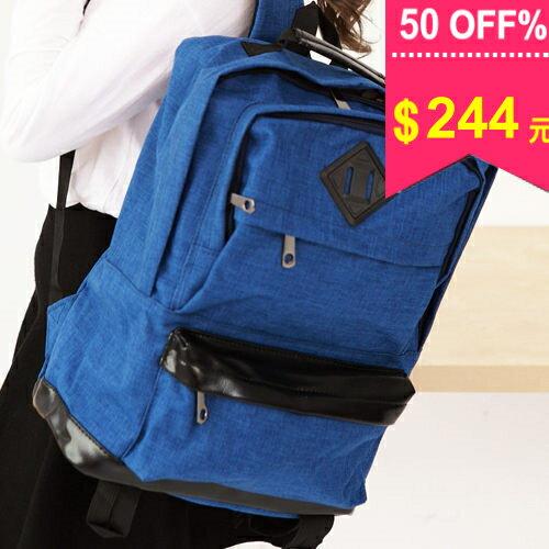 後背包-【日韓嚴選】。厚料撞色豬鼻加厚後背包 包飾衣院 X606 現貨