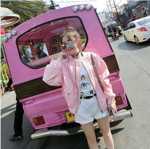 50%OFF【G013146C】2016夏裝新款韓版粉色拉鍊小圓領長袖夾克棒球服女外套上衣