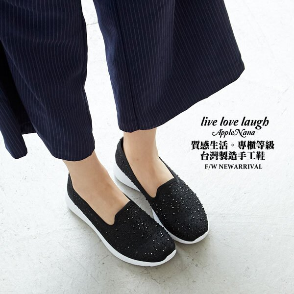 AppleNana。輕量化。閃亮水鑽超輕腳窩支撐氣墊懶人鞋【QD63101480】蘋果奈奈 0