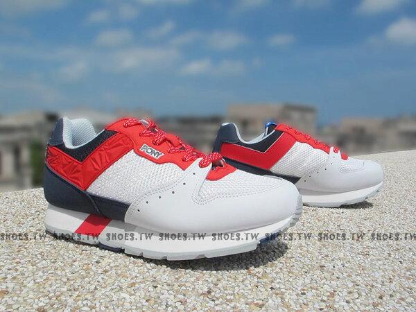 《超值7折》Shoestw【53M1SO61RW】PONY SOLA 復古慢跑鞋 內增高 白藍紅 美國 星星 男生