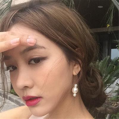 PS Mall 日系甜美優雅復古簡約 亞克力大小珍珠豎棍耳勾耳環耳釘~G2130~