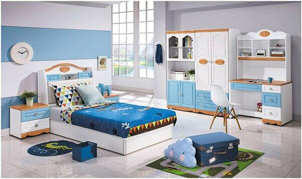 【尚品家具】 HY-A71-01 喬治藍色3.5尺床頭
