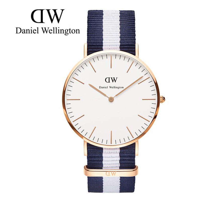 瑞典正品代購 Daniel Wellington 0104DW 玫瑰金 尼龍 帆布錶帶 手錶腕錶 40MM 0