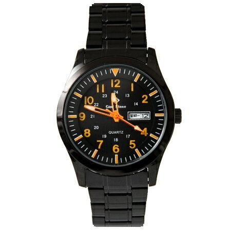 手錶 型男軍用橘色刻度全黑不鏽鋼腕錶 搭戴SEIKO精工VX43石英機芯 柒彩年代【NE1810】30米防水